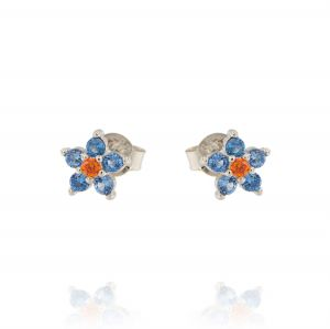 Flower earrings with light blue and orange cubic zirconia