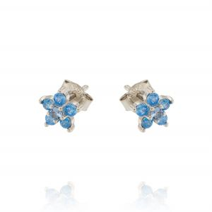 Flower earrings with white and light blue cubic zirconia