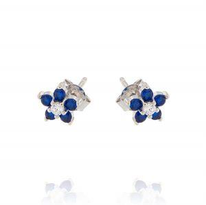 Orecchini a fiore con zirconi bianchi e blu