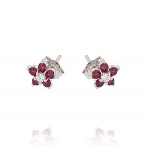 Flower earrings with white and red cubic zirconia