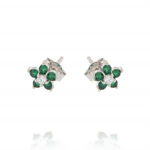 Flower earrings with white and green cubic zirconia