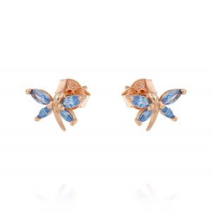 Dragonfly earrings with light blue cubic zirconia