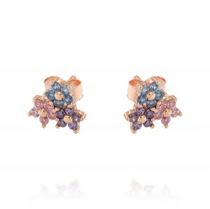 Three flowers shaped earrings with colored cubic zirconia - rosé plated