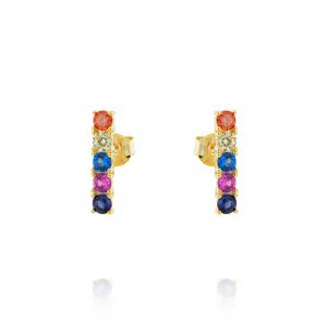 Multicolor cubic zirconia row earrings - gold plated