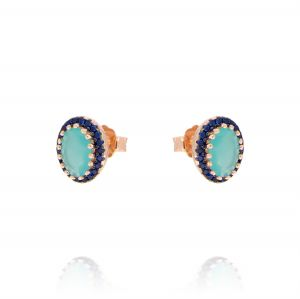 Oval light blue stone earrings with blue cubic zirconia - rosé plated