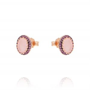 Oval light pink stone earrings with cubic zirconia - rosé plated