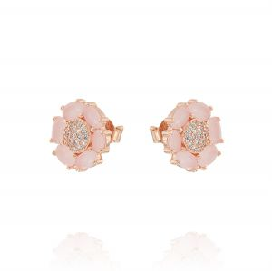 Flower earrings with pink petals and cubic zirconia - rosé plated