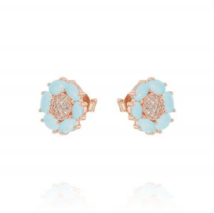 Flower earrings with light blue petals and cubic zirconia - rosé plated