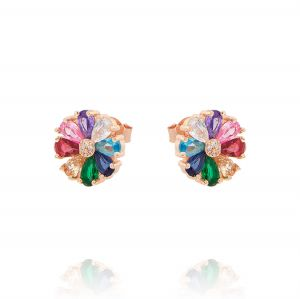 Multicolor flower earrings with cubic zirconia - rosé plated