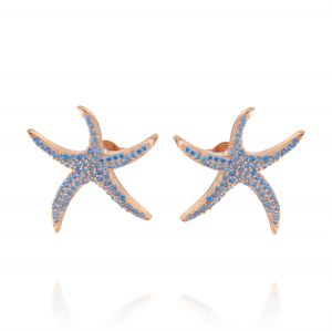 Big starfish earrings with light blue cubic zirconia - rosé plated