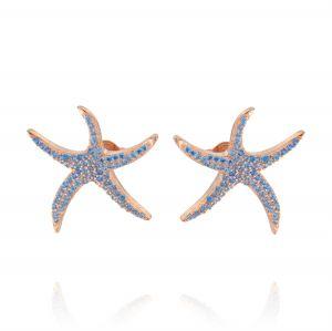 Orecchini stella marina grande con zirconi azzurri - placcato rosé