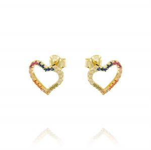 Openwork heart errings with rainbow cubic zirconia - gold plated