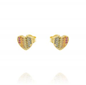 Earrings with rainbow cubic zirconia heart - gold plated