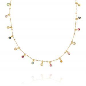 Collana con 23 zirconi multicolor pendenti - placcato oro