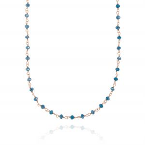 Necklace with dark blue stones - rosé plated
