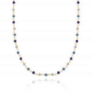 Necklace with blue shades stones - gold plated