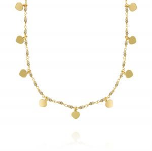 Brown stones and pendat hearts necklace - gold plated