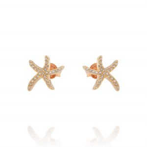 Orecchini stella marina piccola con zirconi - placcato rosé