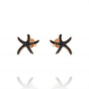 Orecchini stella marina piccola con zirconi neri - placcato rosé