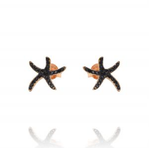 Small starfish earrings with black cubic zirconia - rosé plated