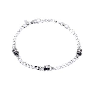 Curb chain bracelet with ruthenium and rosé plated faceted cubes