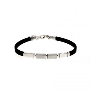 Rubber bracelet with 2 satin-finish plates and 2 glossy