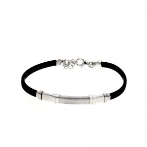 Rubber bracelet with central satin-finish plate