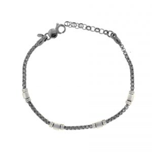 Bracelet with 5 satin-finish cubes and 10 faceted cubes - ruthenium plated