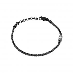 Barleycorn chain bracelet with cube along the chain - ruthenium plated