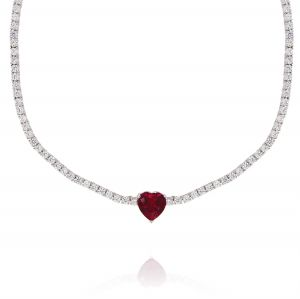 Tennis necklace with red heart