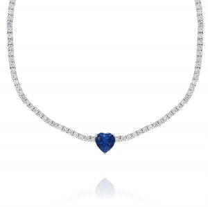 Tennis necklace with blue heart