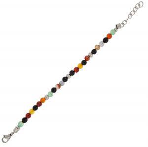 Steel bracelet with multicolor spheres