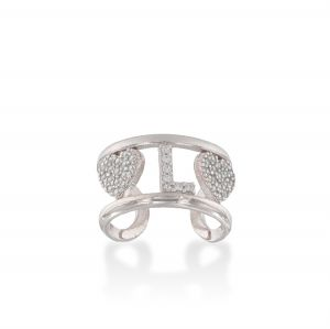 Letter and hearts ring with white cubic zirconia