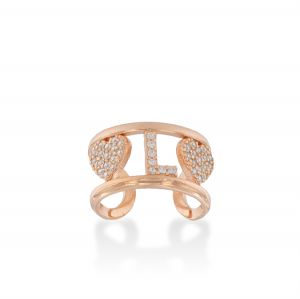 Letter and hearts ring with white cubic zirconia - rosé plated