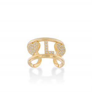 Anello con lettera, cuore e zirconi bianchi - placcato oro