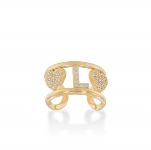 Letter and hearts ring with white cubic zirconia - gold plated