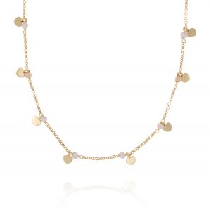 Pink stones and pendat hearts necklace - gold plated
