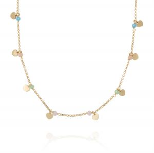 Pink green and blue stones necklace with pendant hearts - gold plated