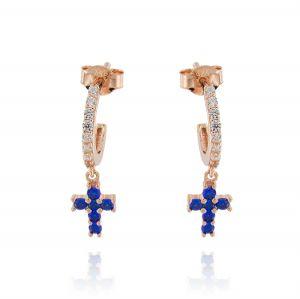 Orecchini cerchietto a perno con croce pendente con zirconi blu - placcato rosé