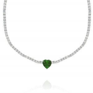 Collana tennis con cuore verde centrale
