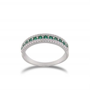 Ring with lateral white and central green cubic zirconia