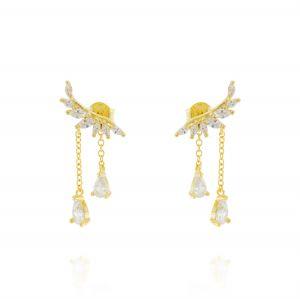 Orecchini ala con catenelle pendenti - placcato oro