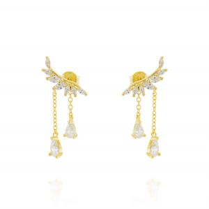 Wing earrings with hanging chains - gold plated