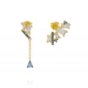 Earrings with white and blue cubic zirconia with hanging chain - gold plated
