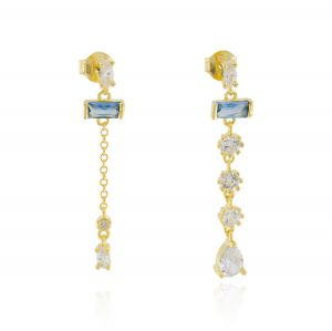 Earrings with hanging cubic zirconia with different shapes and sizes - gold plated