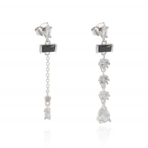 Earrings with hanging cubic zirconia with different shapes and sizes