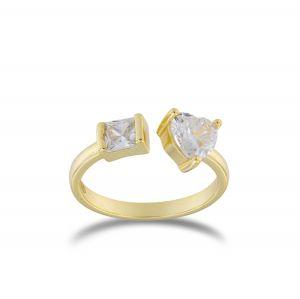 Anello aperto con zircone a cuore e quadrato - placcato oro