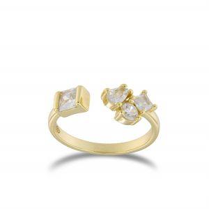 Anello aperto con 4 zirconi di forme varie - placcato oro