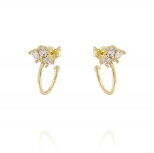 Hoop earrings with cubic zirconia with different shapes - gold plated