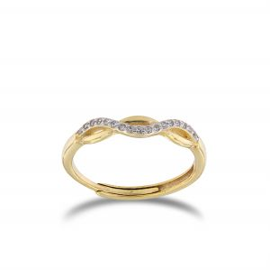 Ring with cubic zirconia weave - gold plated